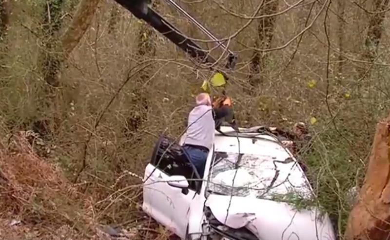 ავტოავარია ქუთაისში - შსს-ს  ავტომობილი ხევში გადავარდა