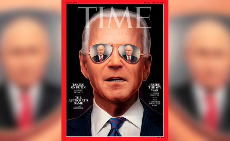 ბაიდენი მზის სათვალეებით, რომელზეც პუტინის სილუეტი იკვეთება - ჟურნალ Time -ის  ფოტო