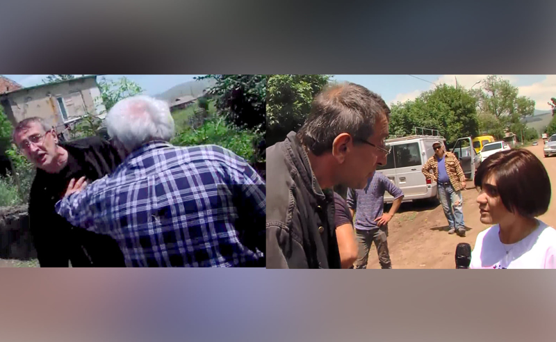 """თავდასხმა """"ტვ პირველის"""" გადამღებ ჯგუფზე - """"პირველების"""" რეპორტიორებს გამგებლის ბიძა ფიზიკურად გაუსწორდა (ვიდეო)"""