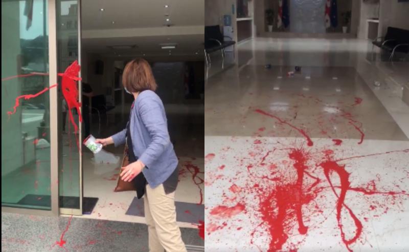 ელენე ხოშტარიამ მთავრობის ადმინისტრაციის შენობას წითელი საღებავი შეასხა
