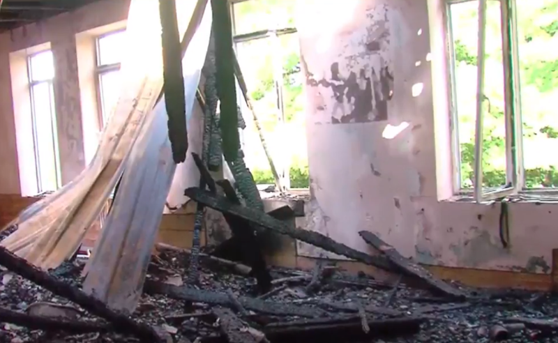 ხანძარი გურიაში- ნაგომარში ადმინისტრაციული შენობა დაიწვა