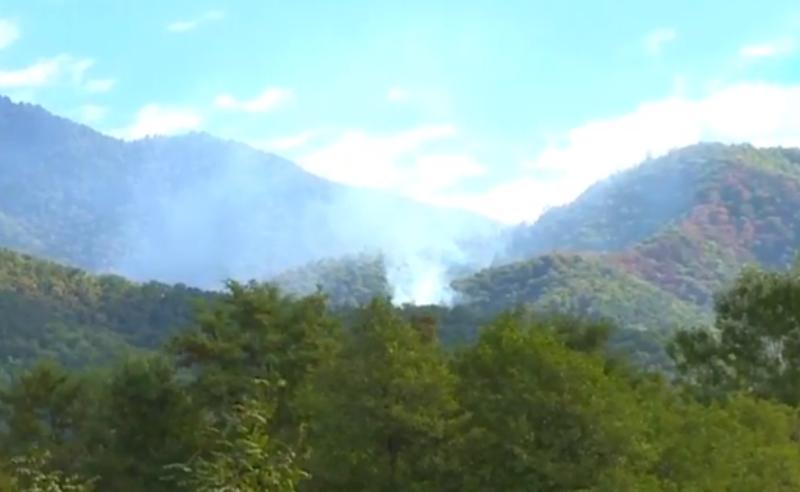 ძლიერი ხანძარი ყვარელში - ცეცხლის ჩაქრობის პროცესში ვერტმფრენი ჩაერთო